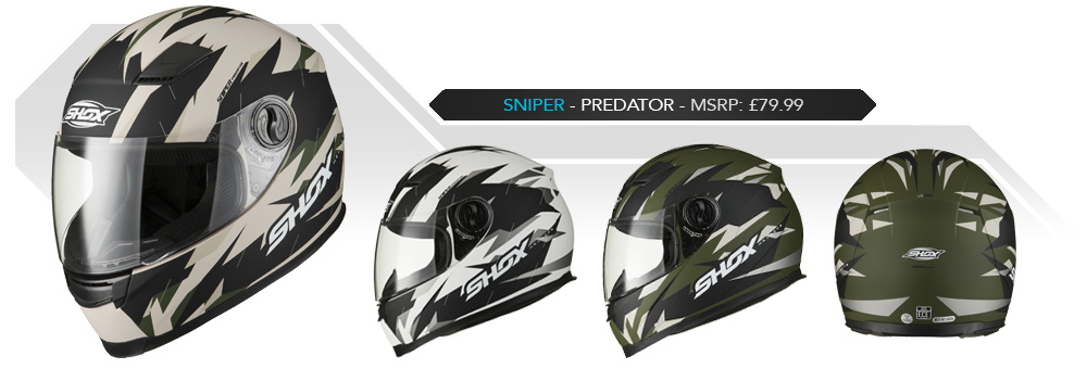 Shox Sniper Predator Motorcycle Helmet
